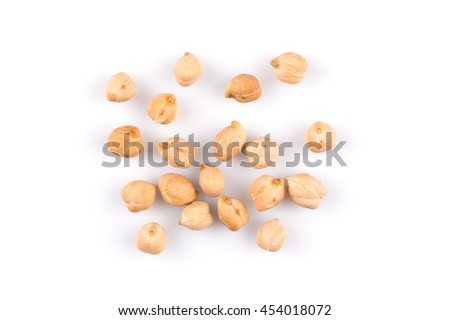 Close up on chickpeas isolated on white background