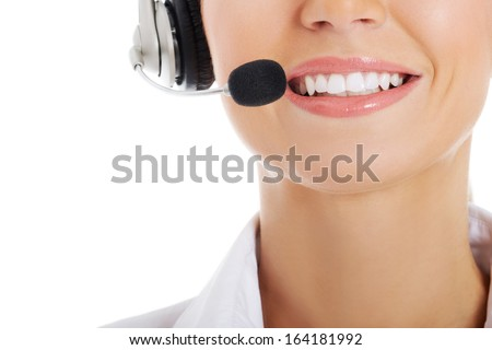 Close up on female's mouth with microphone. Isolated on white. - stock photo