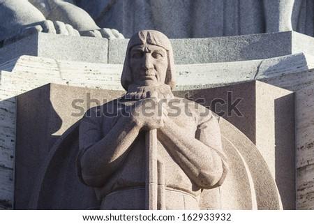 Close-up on Freedom Monument in Riga. Latvia - stock photo