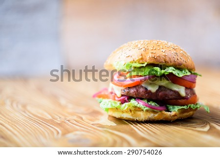 Close up on fresh made hamburger with tomato, lettuce, onion. - stock photo