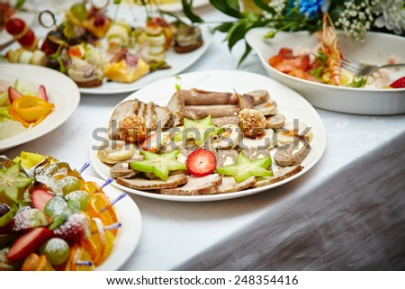 close up on fruit salad. appetizer. restaurant food.  - stock photo
