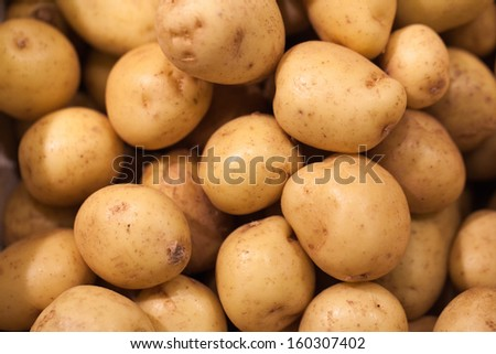 close-up on new potatoes