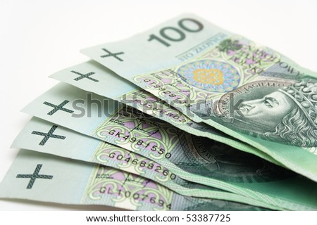 Close up on Polish money - stock photo