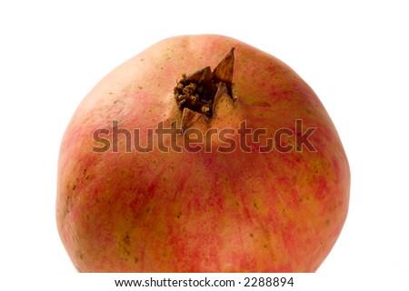 Close up on pomegranate isolated on white background - stock photo