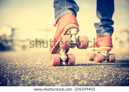 Close up on roller skate shoes - Concepts of youth,sport,lifestyle and 80s vintage style - stock photo