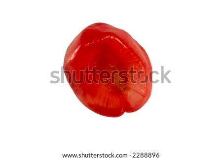 Close up on single pomegranate grain isolated on white - stock photo