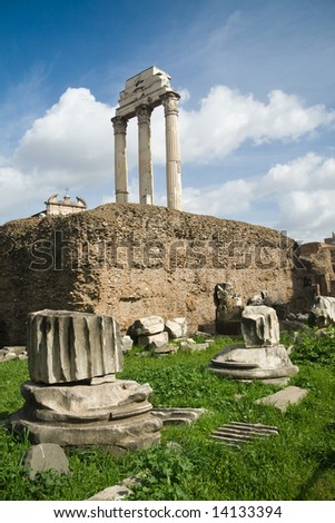 Close-up on some Roman ruins at the Rome Forum - stock photo