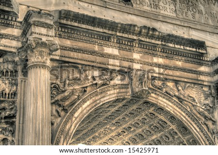 Close-up on the Arch of Titus. Pseudo HDR image created from a single RAW file. - stock photo