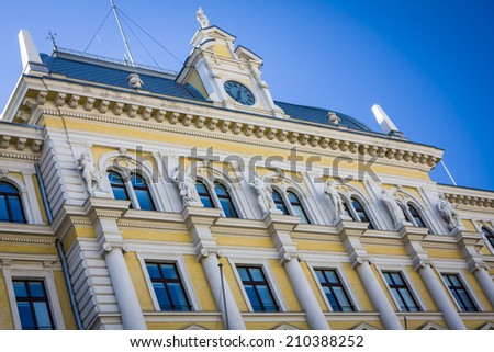 Close-up on the buildings in Trieste, Italy - stock photo