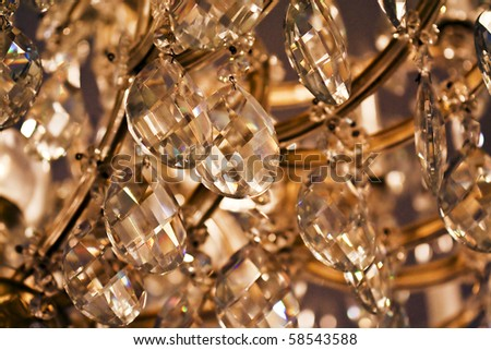 close up on the crystal of chandelier - stock photo