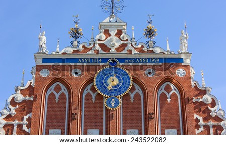 Close-up on the facade of the House of the Blackheads in Riga, Latvia - stock photo
