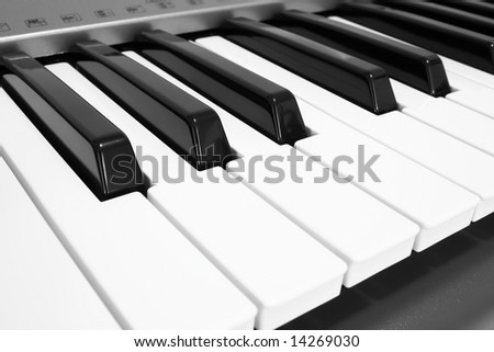 close up on the keys of a electronic piano - stock photo