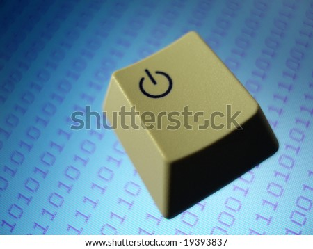 close up on the power key from a computer keyboard - stock photo