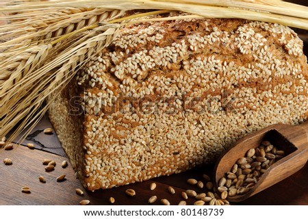 Close-up on traditional sesame bread - stock photo