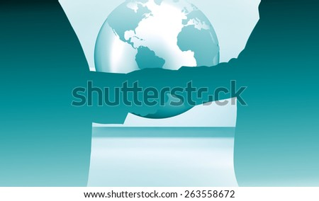 Close up on two businesspeople shaking hands against planet on grey abstract background - stock photo
