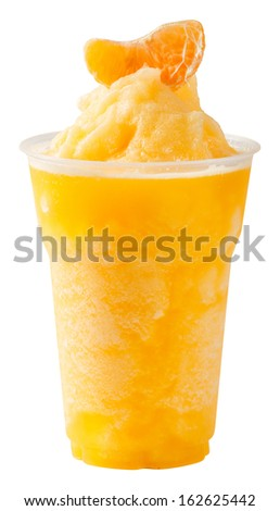 Close up orange smoothie in plastic cup isolated on white - with path - stock photo