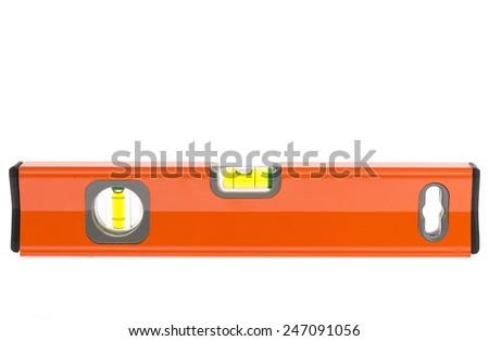 close up orange spirit level isolated on white background. - stock photo