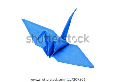 close up Origami Blue paper bird on white background.