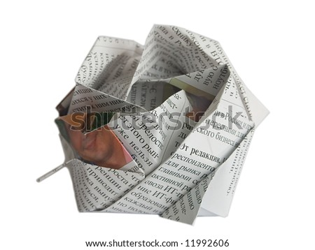 Close up origami newspaper rose isolated on white background - stock photo