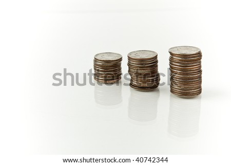 close-up os 3 stacks of quarters - stock photo