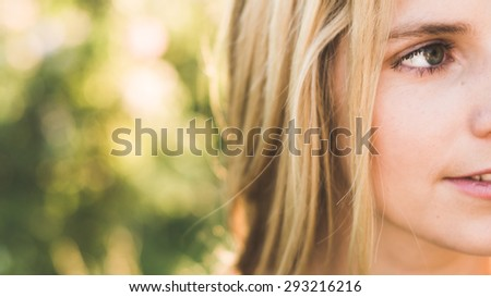 Close up outdoor portrait - stock photo