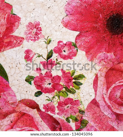 Close up painted floral pattern of pink roses - stock photo