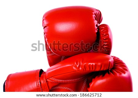 Close Up Pair of Boxing Gloves Red Leather Isolated on white background.