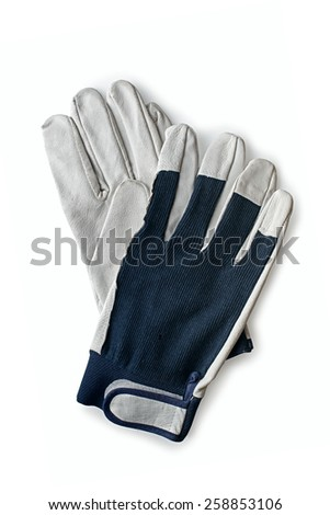 Close up Pair of White and Dark Blue Gray Cotton Knitted Hand Gloves Isolated on a White Background - stock photo