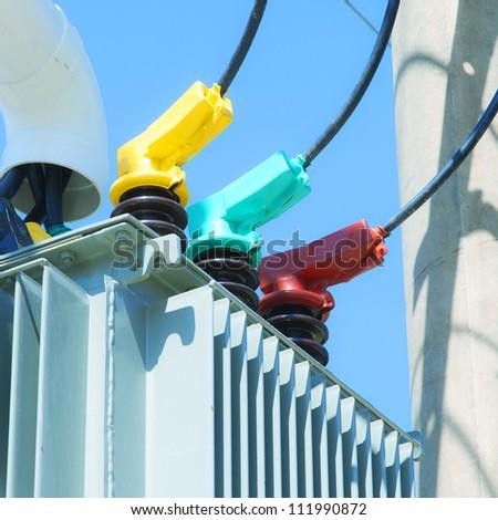 Close up parts transformer substation - stock photo
