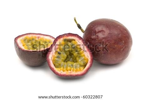Close up passion fruit , cut open - stock photo