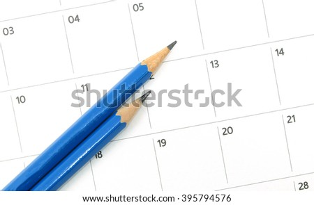 close up pencil on calender date  - stock photo