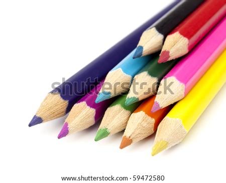 Close up pencils on white background - stock photo