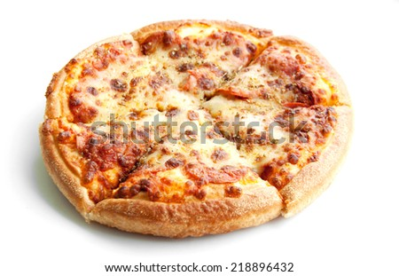 close up peperoni pizza on white isolate in top view - stock photo