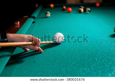 Close up photo fragment of the pool billiard game. American pool billiard. Pool billiard game. Billiard sport concept. - stock photo