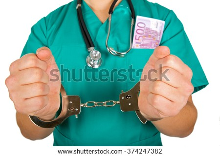 Close up photo of a handcuffed doctor hands - stock photo
