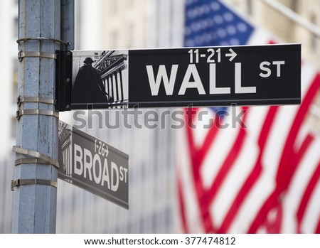Close-up photo of a Wall Street Sign in Wall Street, Manhattan, USA. - stock photo