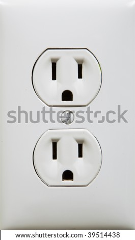 close up photo of a white electric outlet - stock photo