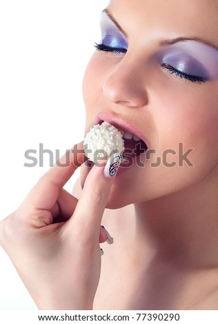 Close up photo of a women with coconut dessert - stock photo