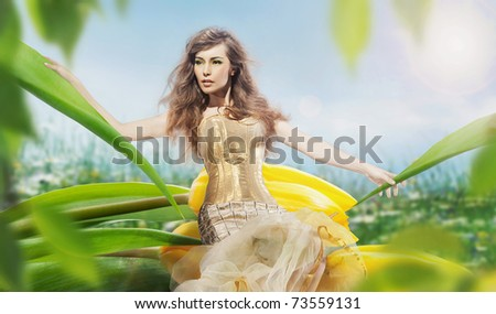 Close up photo of beautiful young lady - stock photo
