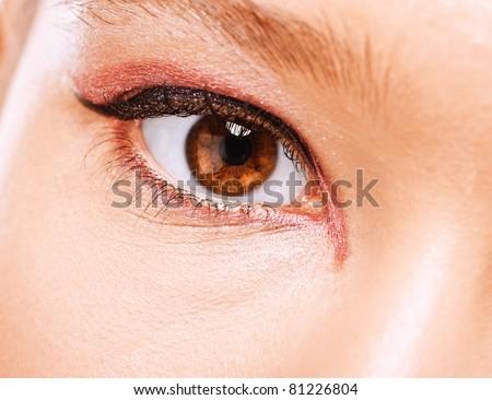 Close-up photo of brown beautiful eye. - stock photo