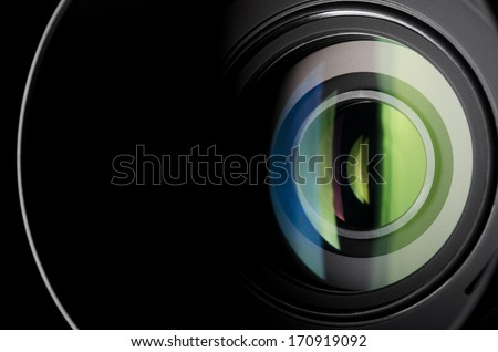 Close-up photo of camera zoom lens - stock photo