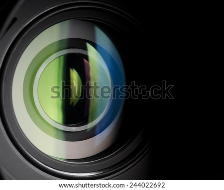 Close-up photo of camera zoom lens - stock photo