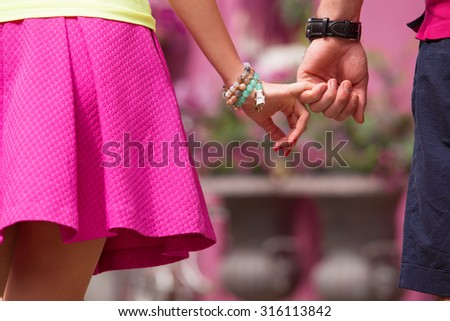 Close up photo of couple hands - stock photo