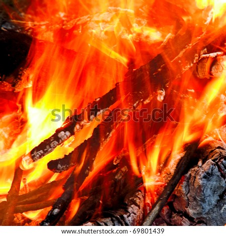 close up photo of hot red fire - stock photo
