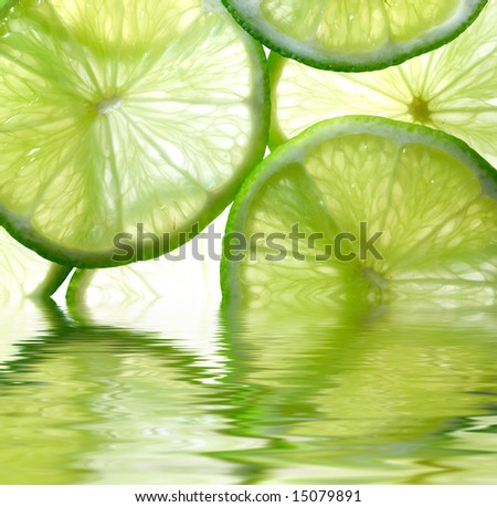 Close up photo of lime background reflected in the water
