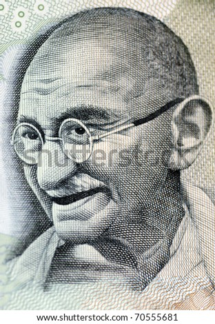 Close up photo  of Mahatma Gandhi father of Indian nation - stock photo