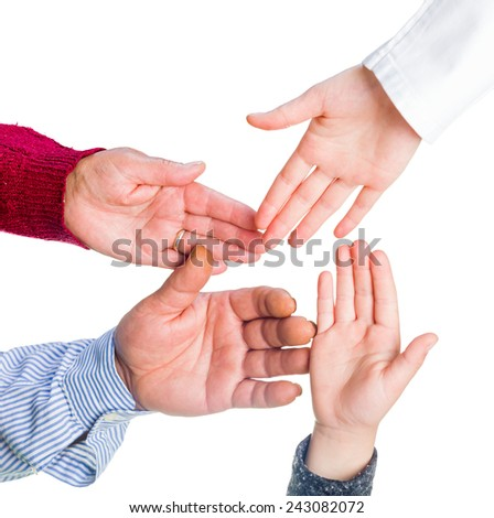 Close up photo of many hands together - stock photo