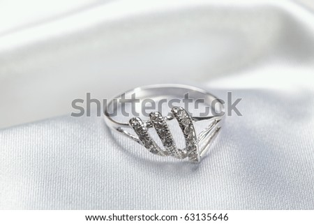 Close up photo of platinum or silver ring - stock photo