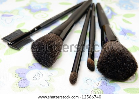 Close-up photo of the brushes on the pure background