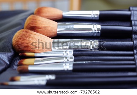 Close-up photo of the professional makeup brush set with leather cover